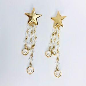 New! Gold Star Beaded Pearl Tassels  Earrings